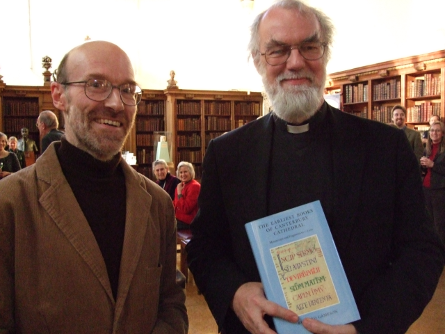 Richard Gameson and Archbishop Rowan Williams at the book launch