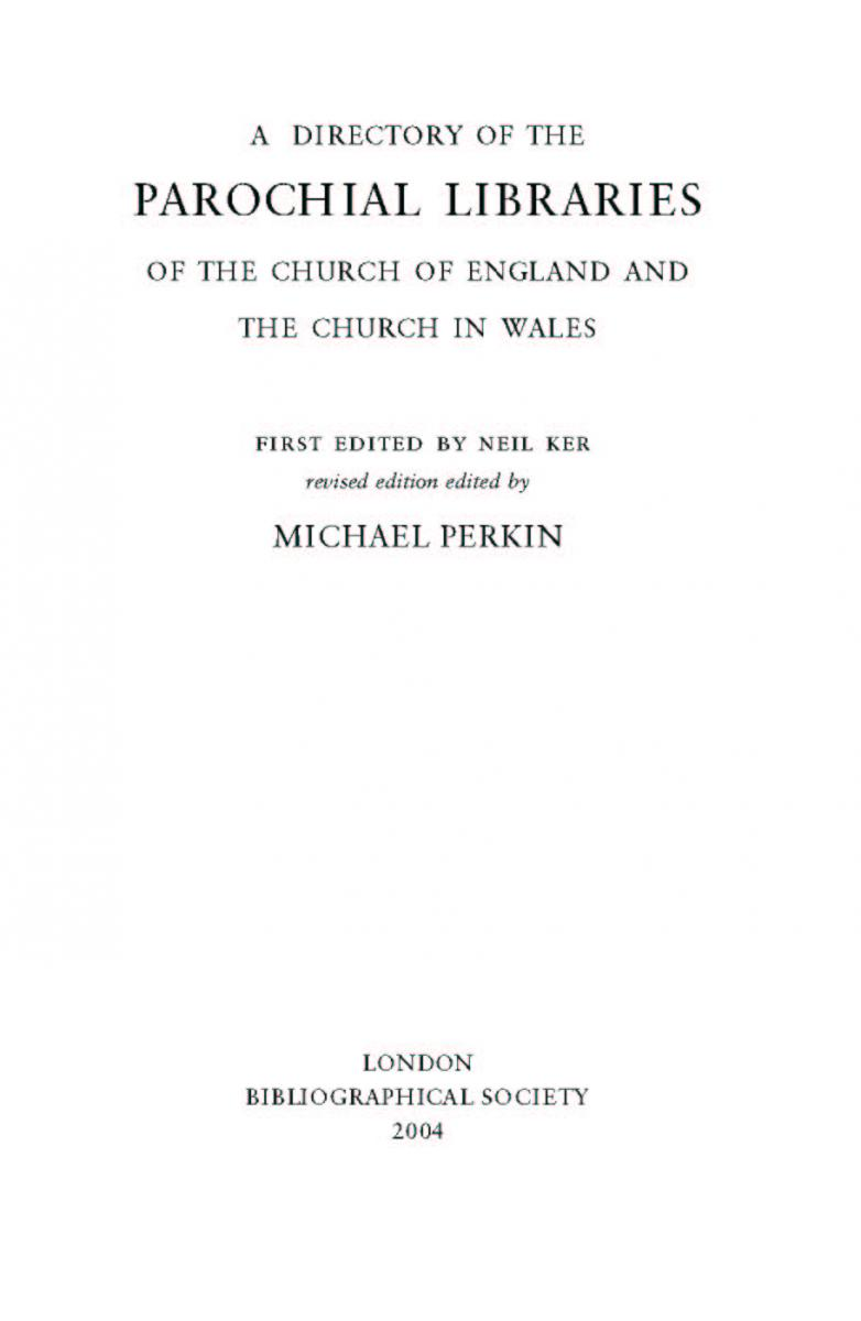 michael perkin a directory of the parochial libraries of the church